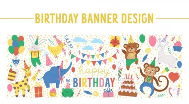 Vector horizontal frame with happy Birthday elements. Traditional anniversary party clipart. Funny design for banners, posters, invitations. Cute festive holiday card template with cute animals icon