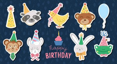 Set of vector stickers with cute animal faces in party hats. Happy birthday avatars collection. Funny holiday illustration of bear, frog, llama, raccoon, hare, monkey for kids. Celebration icons pack icon