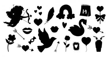 Vector set of Saint Valentine day silhouettes. Collection of cute black and white characters and objects with love concept. Cupid, dove, hearts and swans isolated on white background. icon