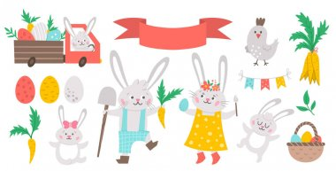 Vector Easter bunny family set. Rabbit mother, father, daughter and son with spring elements isolated on white background. Cute animal icons pack for kids. Funny truck with eggs and carrots icon
