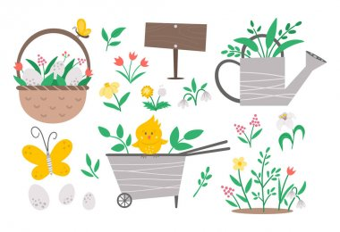Vector cute garden and Easter icons pack. Wheel barrow, watering can, eggs, first flowers and plants isolated on white background. Flat spring gardening tool illustration for kids icon