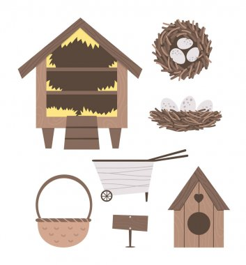 Vector cute farm and garden equipment collection. Roost, bird house, wheel barrow, basket, nest isolated on white background. Bird hatching and breeding icons pack. icon
