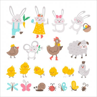 Vector Easter characters set. Spring birds and insects collection. Cute animal icons pack for kids. Funny bunny family, chicks, hen, sheep, butterfly isolated on white backgroun icon