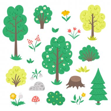 Vector set with garden or forest trees, plants, shrubs, bushes, flowers isolated on white background. Flat spring woodland or farm illustration. Natural greenery icons collectio icon