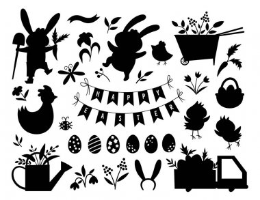 Vector Easter silhouettes set. Vector pack with cute bunny, eggs, bird, chicks, basket black shadows. Spring funny illustration. Adorable holiday icons collectio icon