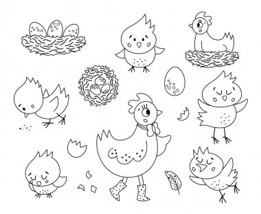 Vector black and white set with cute hen, little chicks, eggs, nest. Spring or Easter funny outline illustration or coloring page for kids. Farm bird icons pack icon