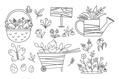 Vector cute black and white garden and Easter icons pack. Wheel barrow, watering can, eggs, first flowers and plants coloring page. Outline spring gardening tool illustration for kids icon