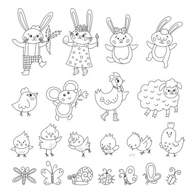 Vector black and white Easter characters set. Spring outline birds and insects collection. Cute animal icons pack for kids. Funny bunny family, chicks, hen, sheep, butterfly coloring page icon