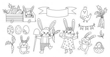 Vector black and white Easter bunny family set or coloring page. Outline rabbit mother, father, daughter and son with spring elements. Cute animal icons pack for kids. Funny truck with eggs icon