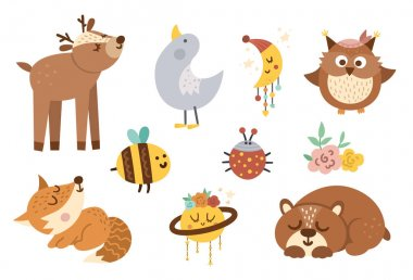 Vector woodland baby animals, insects and birds collection. Boho forest set. Bohemian little fox, owl, bear, deer, ladybug, goose with flowers, planet, half moon. Celestial pack with cute characters icon