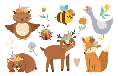 Vector woodland animals, insects and birds collection. Boho forest set. Bohemian fox, owl, bear, deer, ladybug, goose with flowers on heads. Celestial clip art pack with cute characters icon