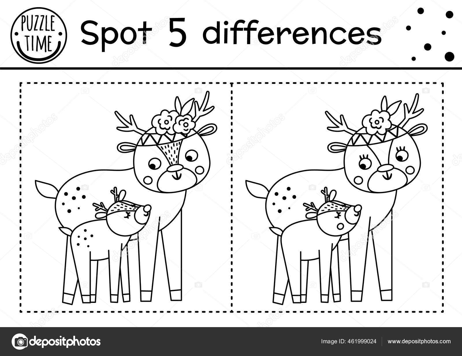 Mothers Day Find Differences Game Children Cute Animals Holiday Black Stock Vector Royalty Free Vector Image By C Lexiclaus 461999024