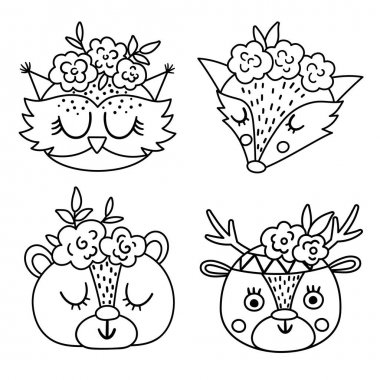 Set of vector cute wild animal black and white faces with flowers on their heads. Boho forest avatars collection. Funny line illustration of owl, bear, deer, fox for kids. Woodland icons pack icon