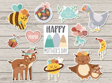 Vector set of Mothers day stickers. Collection of cute characters and objects with family love concept. Funny baby and mother animals, flowers, sweets on wooden background. Holiday patches pac icon