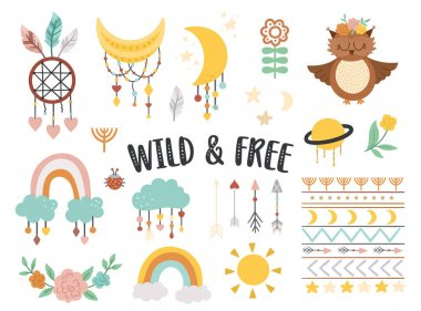 Vector wild and free elements collection. Bohemian illustrations set. Half moon, planet, dream catcher, flowers, arrows, owl isolated on white background. Baby boho icons pack with cute characters icon