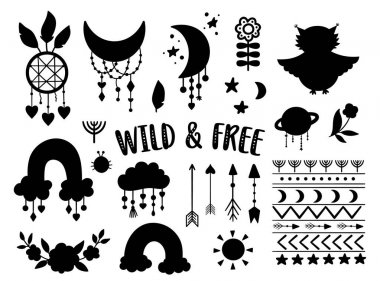 Vector wild and free silhouettes collection. Bohemian black and white illustrations set. Half moon, planet, dream catcher, flowers, arrows, owl isolated on white. Baby boho icons pack icon