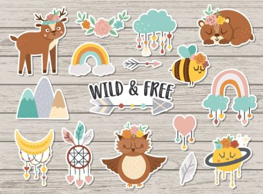 Vector set of wild and free stickers. Collection of cute characters and objects with ethnic nature concept. Funny animals, rainbow, mountains on wooden background. Boho patches pac icon