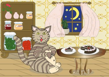 Fat cat eating chocolate cake at night. Bulimia concept