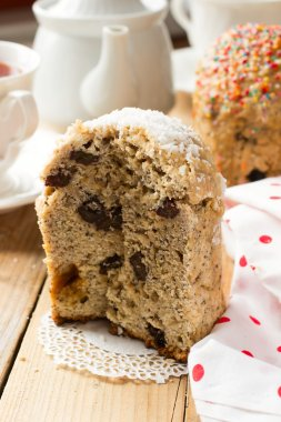 Traditional Easter bread - kulich with raisins and poppy seeds