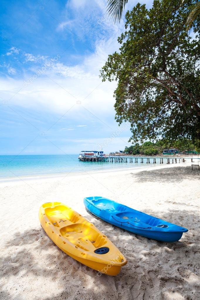 kayaks on the tropical beach in Thailand