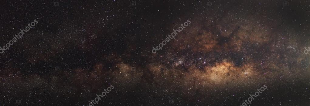Panorama Milky Way galaxy, Long exposure photograph, with grain