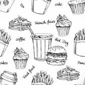 Fast food and drink seamless background doodle vector
