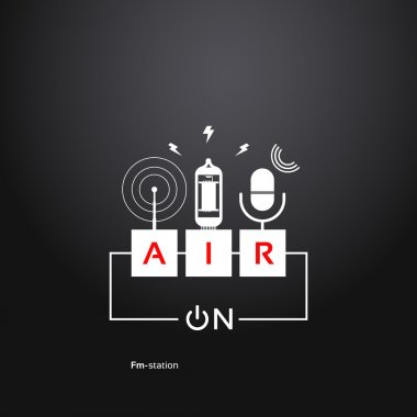 on air, abstract background power button, microphone, vacuum tub