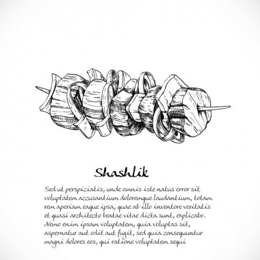 Background for your text with doodles on Caucasian cuisine - ske