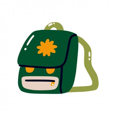 Cute green backpack. Illustration of a hiking backpack. Flat vector illustration isolated on a white background icon