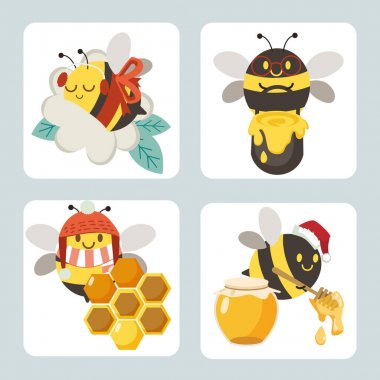 The collection of cute bee with flower and honey bucket and honey jar and spoon with hexagon on the yellow and white background. The character of cute bee in flat vector style. icon