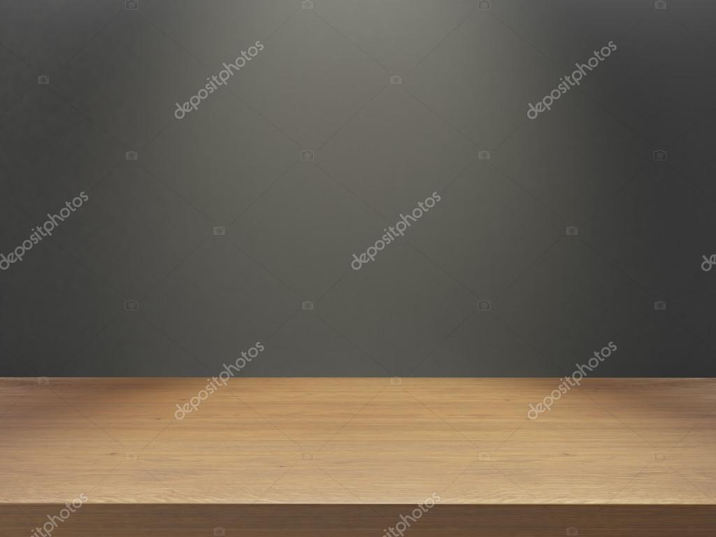 Bureau Plank Aan Muur.Houten Bureau Met Grijze Muur Onder Lichteffect Stockfoto