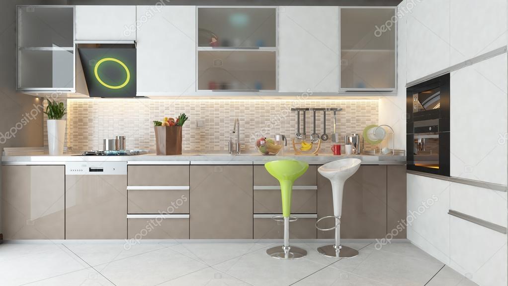 diseño de cocina con muebles de madera de color blanco y capuchino ...