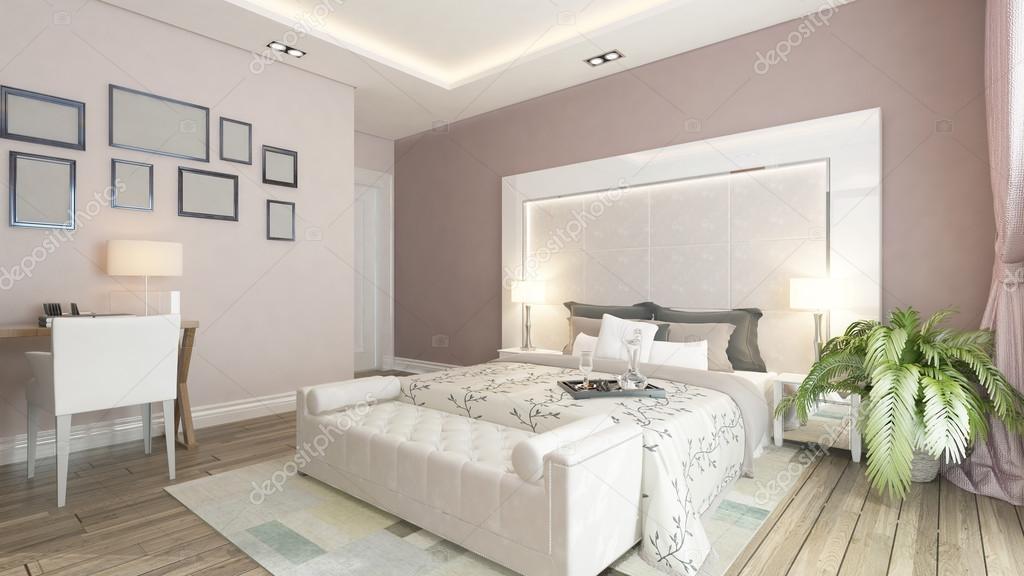 Parete Camera Da Letto Rosa : Un rendering d della camera da letto moderna con la parete rosa