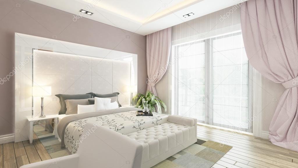 Un rendering 3d della camera da letto moderna con la parete rosa ...