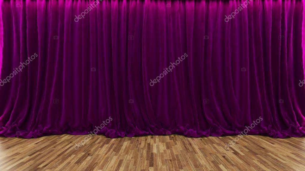 3d 렌더링 극장 단 자주색 커튼 및 나무 바닥 — 스톡 사진 © sseven ...