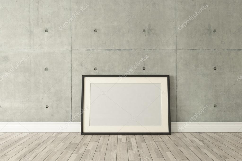 Decoración de marcos de cuadro negro con pared de concreto, Fondo ...