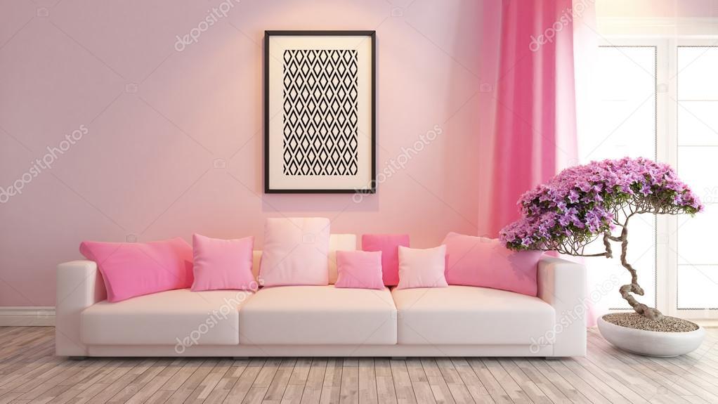 roze woonkamer of salon interieur design-weergave — Stockfoto ...