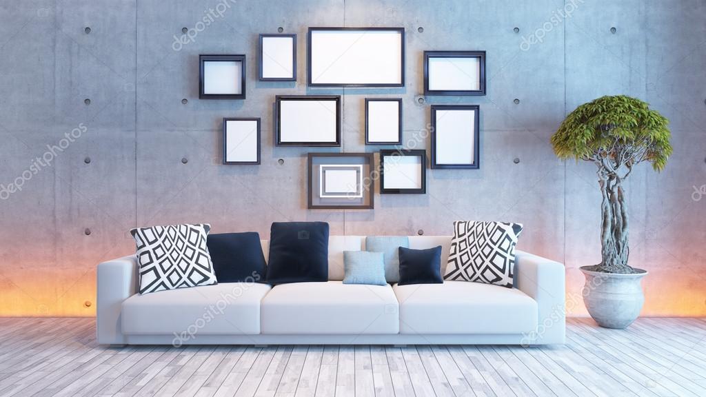 diseño de interiores de sala de estar con pared y cuadro marco de ...
