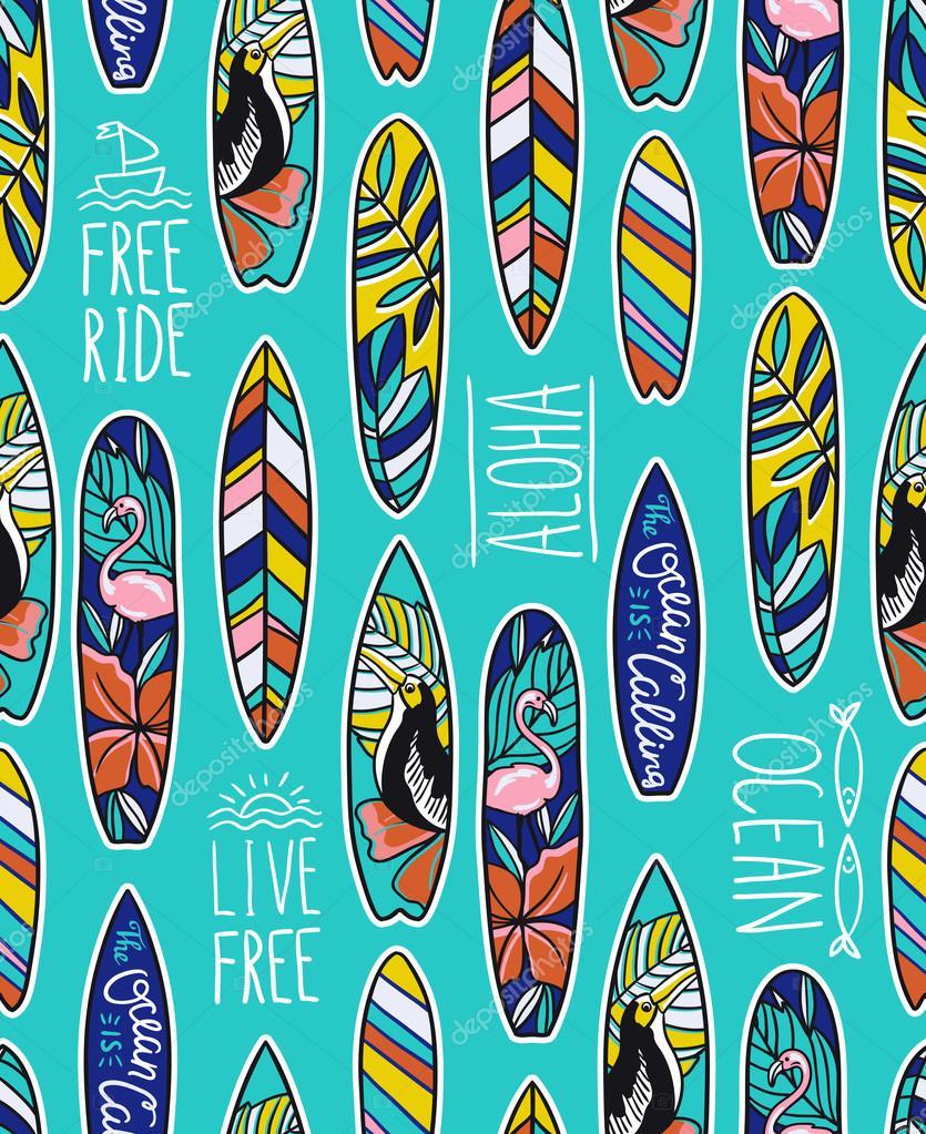 Patr n con tablas de surf brillantes vector de stock - Dibujos para tablas de surf ...