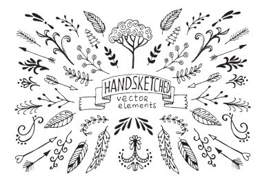Hand Drawn vintage floral elements