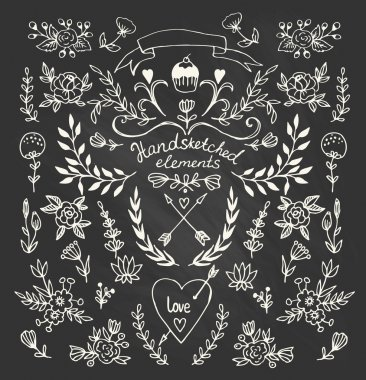 Floral hand-drawn elements