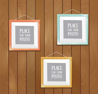 Template of square frames with posters