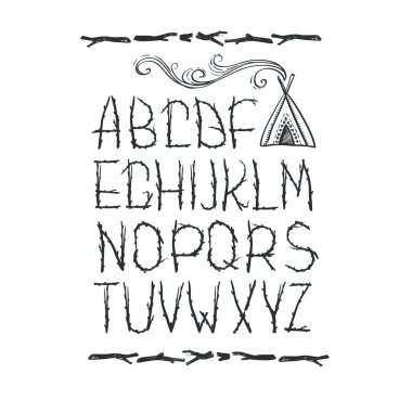 Alphabet made of branches of tree