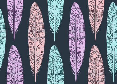 seamless pattern with boho Feathers