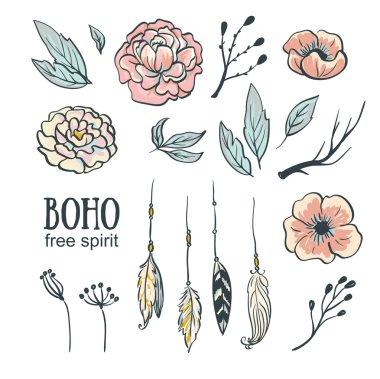 Boho style wedding invitation set