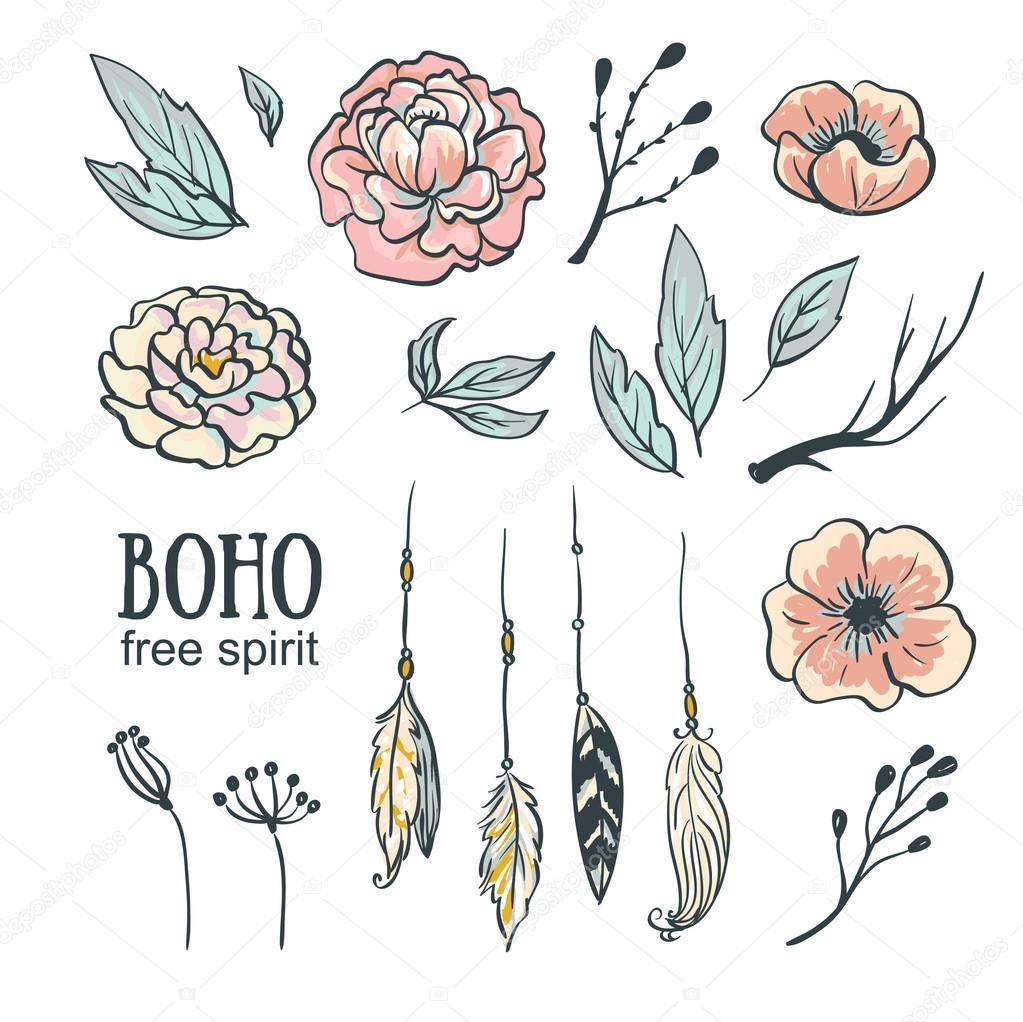 Boho Style Hochzeit Einladung Elementen Festlegen. Vektor Illustration.  Blumen, Federn Und Blättern U2014 Vektor Von Utro Na More