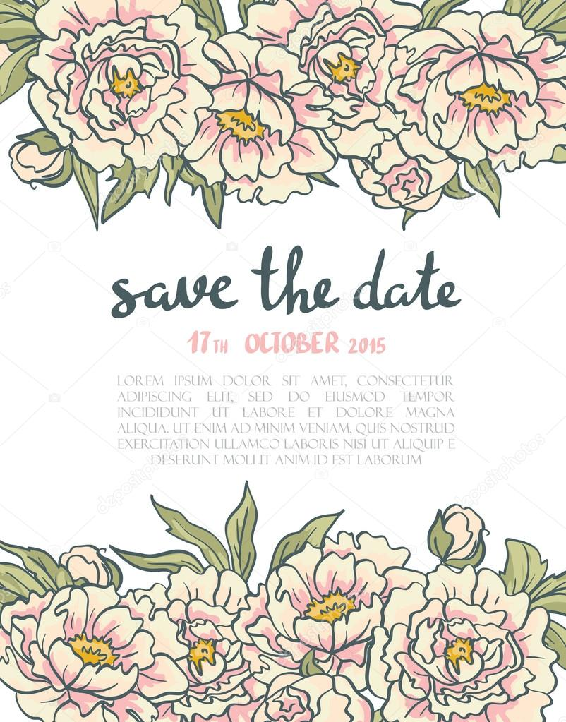Vintage Floral Hochzeitseinladung Stockvektor C Utro Na More 79791226