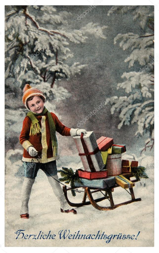 Cartoline Di Natale Depoca.Allegra Cartolina D Epoca Di Natale Foto Editoriale Stock
