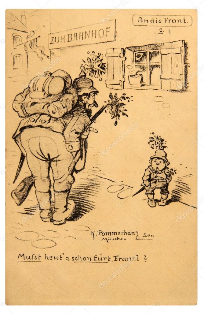 deutschland circa 1917 reproduktion von antiken postkarte gedruckt in deutschland zeigt eine karikatur eines armee themas ca