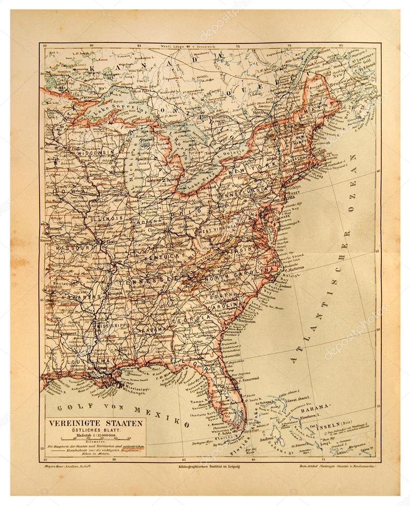 Old Map Of United States Of America And Atlantic Ocean Stock - Atlantic ocean on us map